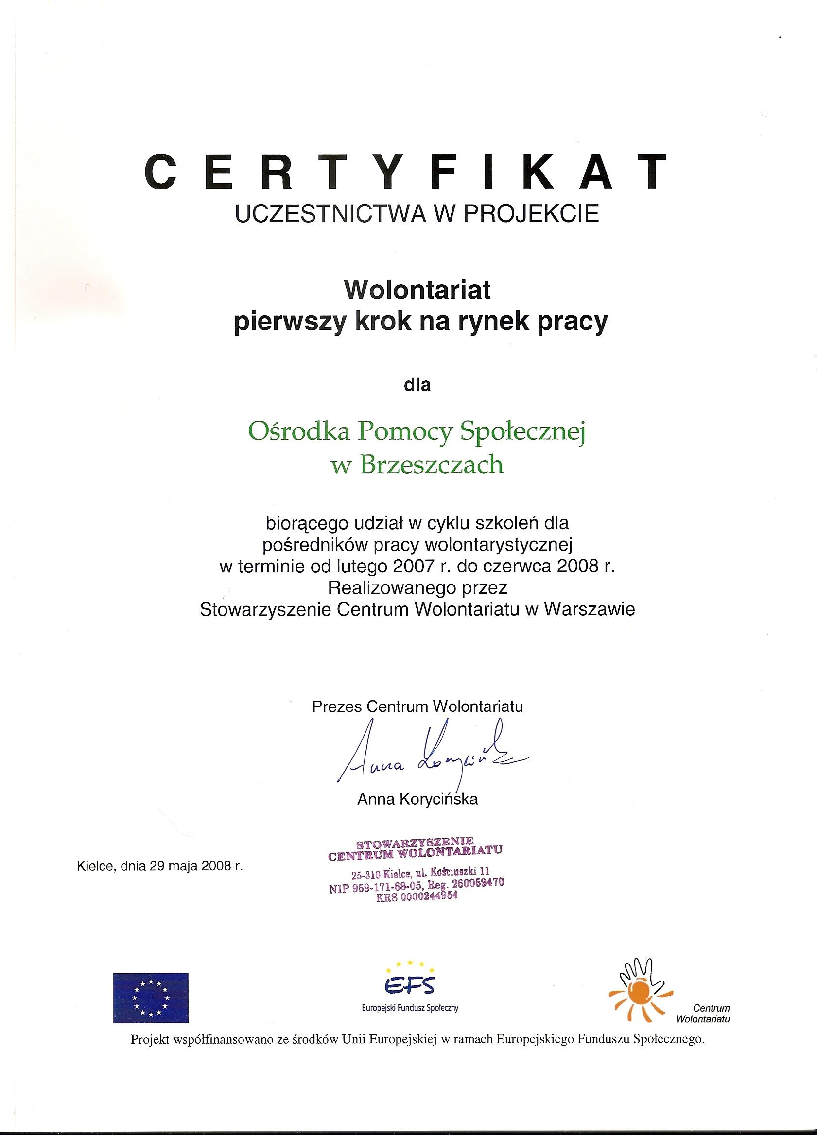 Certyfikat uczestnictwa w projekcie - Wolontariat pierwszy krok na rynek pracy