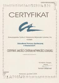 Certyfikat jakości Centrum Aktywności Lokalnej